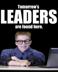 tomorrow's leaders are found here headline with student dressed as a businessman